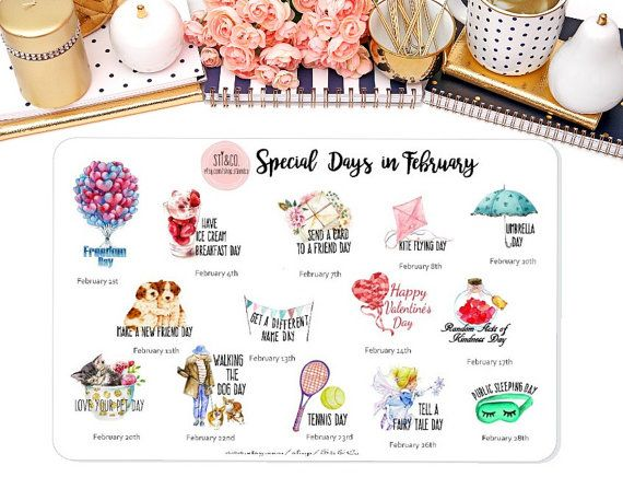 Special Days in February Wacky Holiday Stickers for by StiandCo