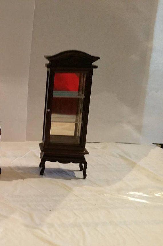 Miniature Dollhouse Dark Wood Bookcase Curio Display