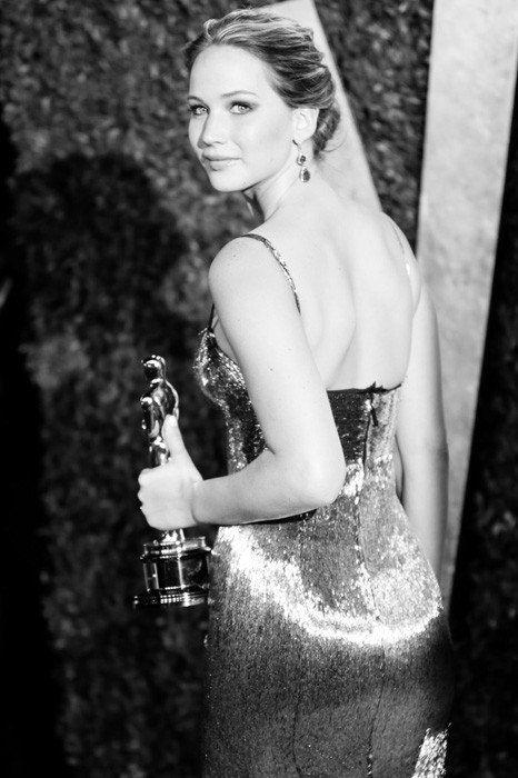 Jennifer Lawrence in a glittery Clavin Klein dress at the Vanity Fair Oscar Party