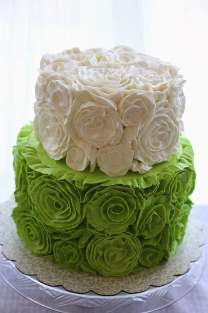Sara Elizabeth Custom Cakes: Buttercream Rosette Cake Tutorial. Green and White rosette covered cake tiers. This is a technique typically done in fondant; find out how to create this lovely design in delicious, soft buttercream!