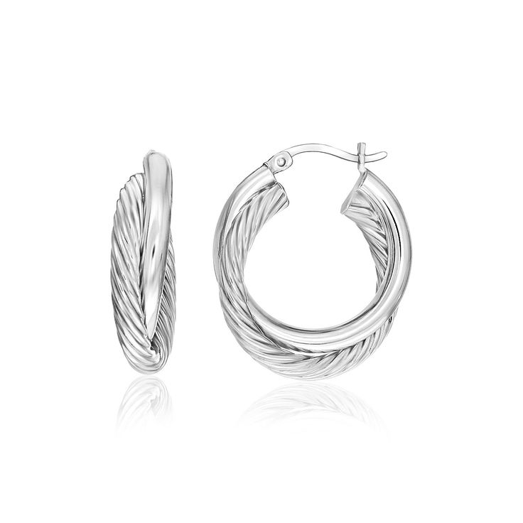 Sterling Silver Round Interlaced Smooth and Textured Hoop Earrings