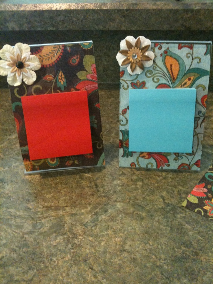 Too cute, post it note holder. Clear acrylic frame with scrapbook paper inside, stick a flower on and a post it note pad. (peel the back sheet off). Could also include other scrapbook pages for teacher to change out during the year.