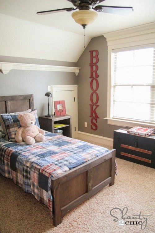 """Big Wall Letters - Mey's Room with """"Books"""" in the middle of her shelves"""