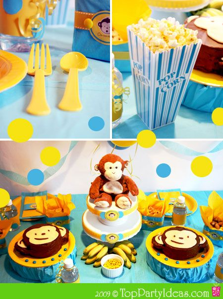 Monkey Party Ideas - decorations, food, games.. Cute for her first birthday party, replace the blue with pink and it's PERFECT