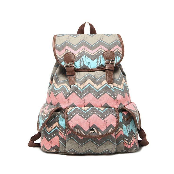 Drawstring clamshell canvas travel backpack retro bohemian college wind shoulder bag book bag female