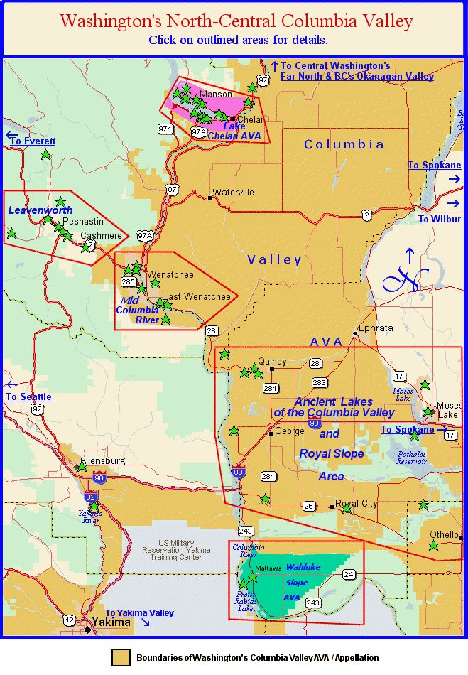 Map to the wine regions of Washington's North Central Columbia Valley environs