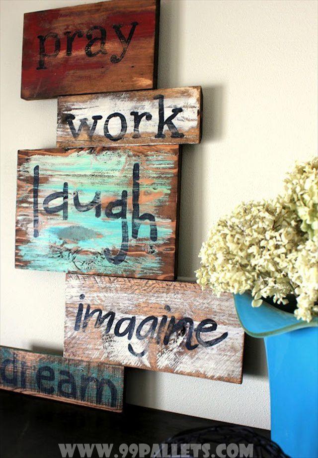DIY Wise Words Art over Pallets Wood