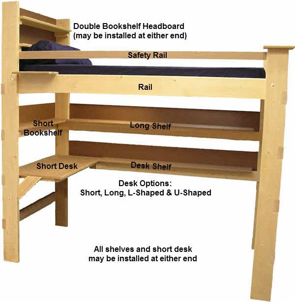 Best Dorm Beds Loft Bed Bunk Beds High Rise Mid Height Loft Bed 640 x 480
