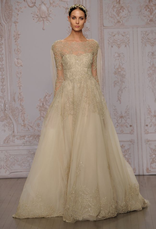 Gold Long sleeved wedding dress from Monique Lhuillier's 2015 Collection Snippets, Whispers and Ribbons – 5 of the Most Beautiful Wedding Dresses For 2015