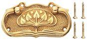 3 3/4 Inch Leaf Pattern Solid Brass Drawer Pull - Tree Design (Polished Brass Finish)
