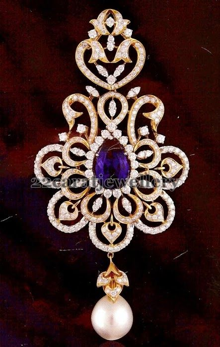 22 carat gold Designer diamond broad pendant. Floral designer motif embellished in the center. Studded with pear shaped purple amethyst decorated in the center. White south sea pearl drop hanging. Kothari's Jewellery,