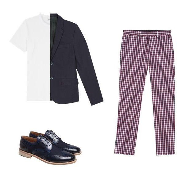 le pantalon jamming quadrillé est conçu en toile de coton. il pourra être porté avec une veste bleue, un t-shirt blanc et des derby bleue.