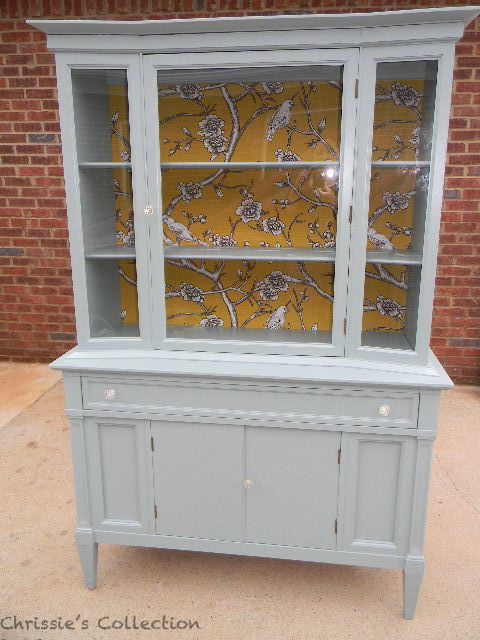 Light grey cabinet with fabric inside — Chrissie's Collection - Paint Portfolio ~ China Cabinets