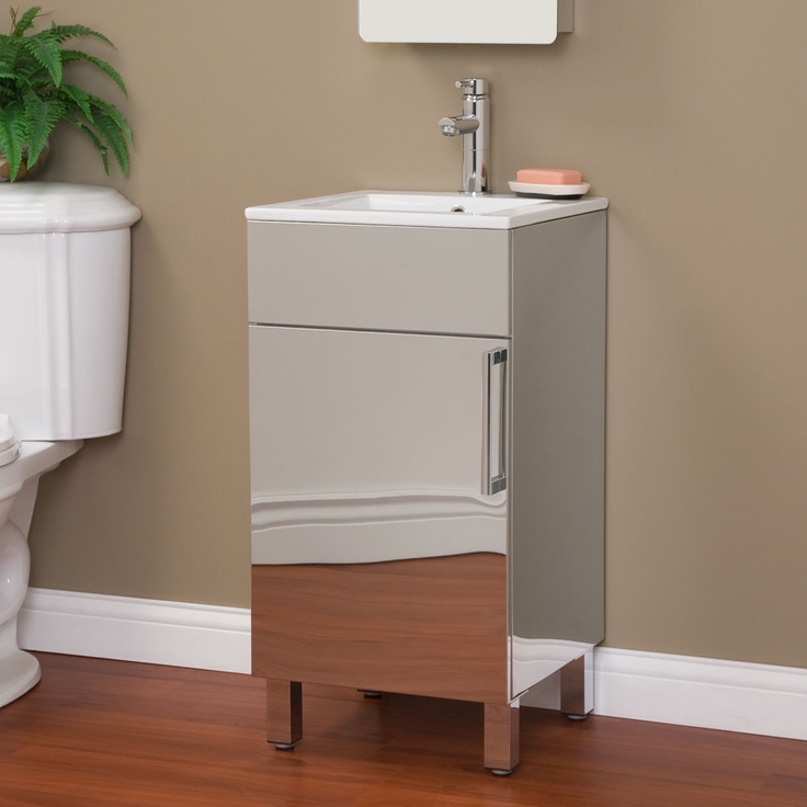 Photo Gallery In Website The sleek ultra modern style of the Crosstown Stainless Steel Vanity Cabinet will bee the highlight of your powder room or small bath