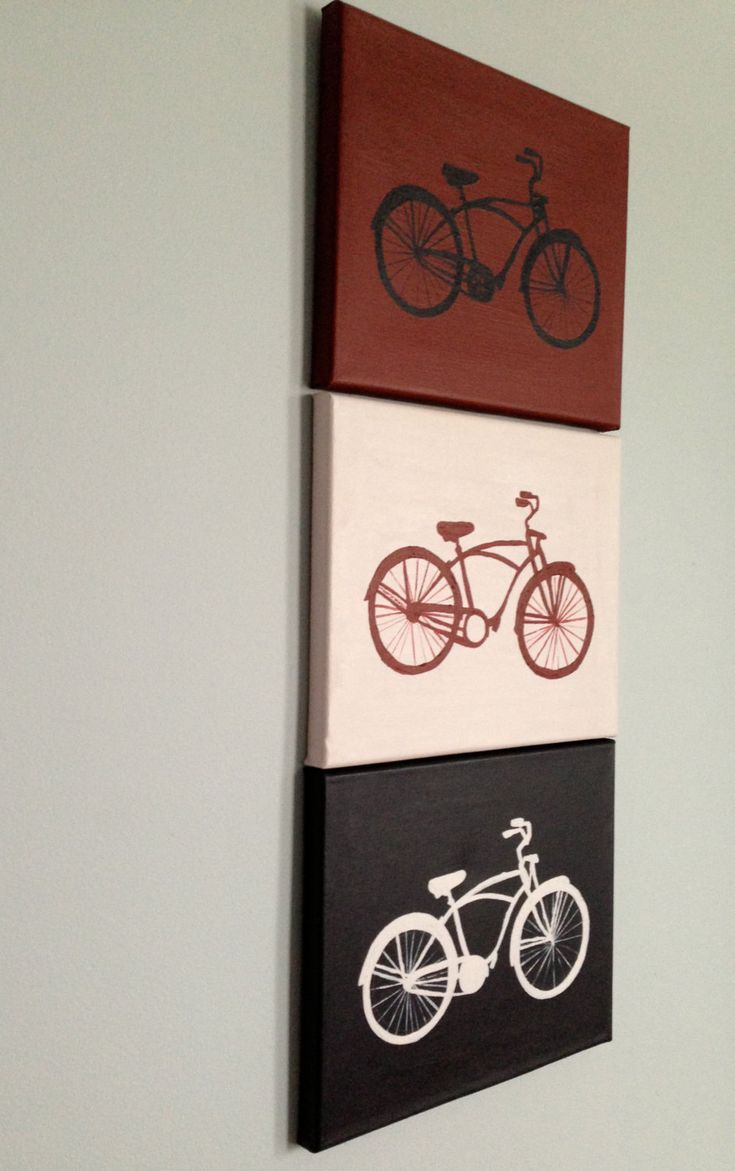 Original Vintage Bicycle Silhouettes Painting on Red, White, Blue Backgrounds: Set of Three Acrylics on Canvas. $48.00, via Etsy.