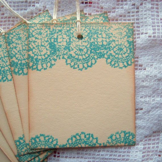 Aqua/Teal Lace Stamped Tags....
