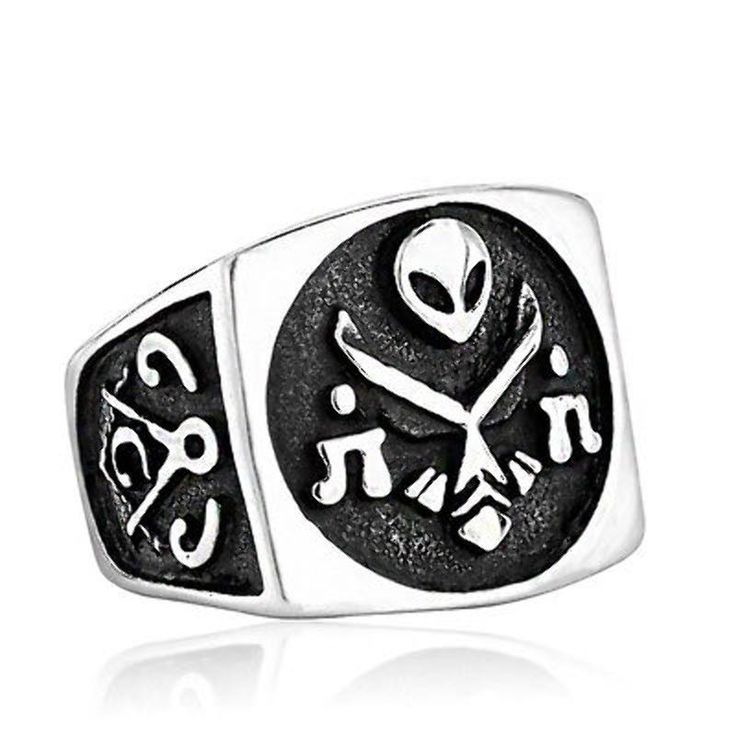Masonic Ring Alien Men's 316L Stainless Steel Jewelry Freemason Lodge Size 7-13