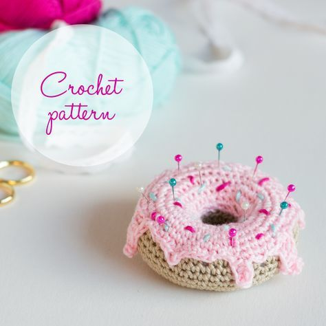 Hello my friends! Today I will show you how to create this cute little donut. I am using 100% cotton DK weight yarn in beige for the donut, light shade of pink for the icing and darker shade of pin…