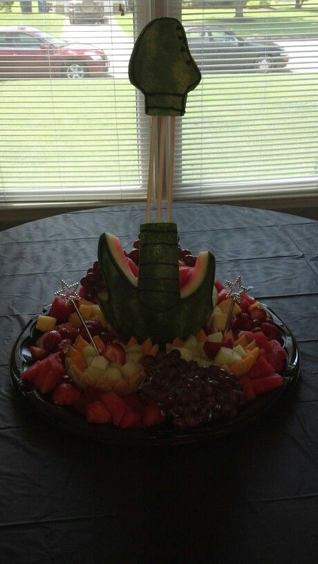 Guitar Shaped Watermelon Centerpiece for the Food Table, Courtesy of Towanda Wilkins