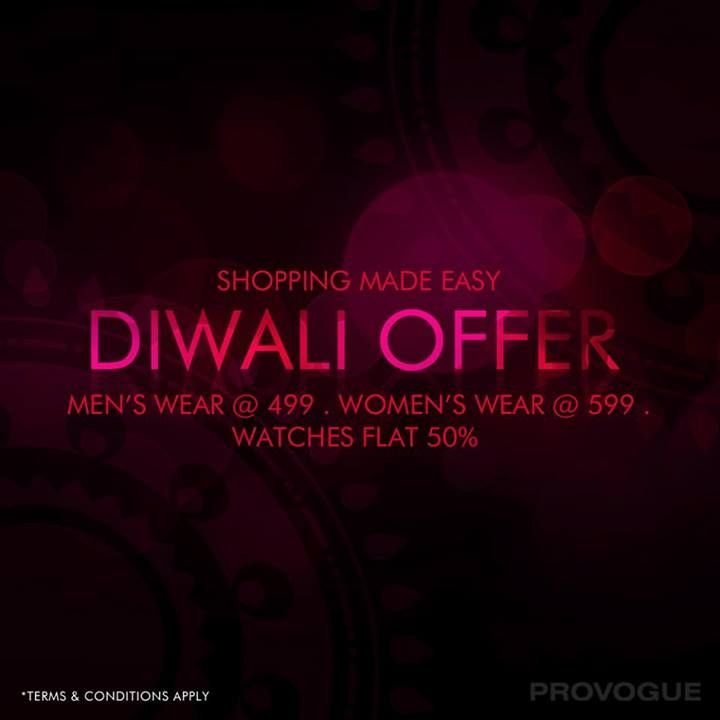 Shopping is now made easy!  #Diwalioffer #shopping  Shop Online - www.provogue.com