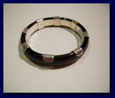 Black agate bangle set with sterling silver from Michael Edwards Jewellery