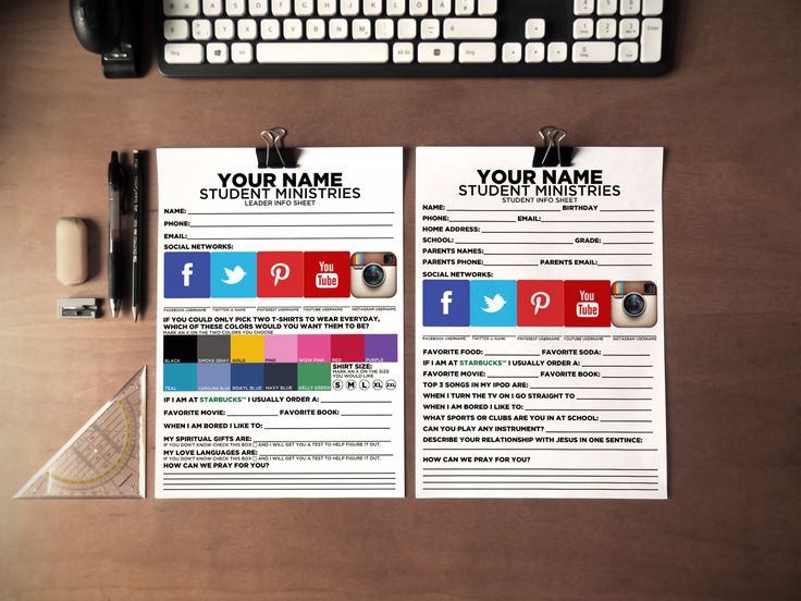 Student Info Sheets to have new students to your youth ministry fill out