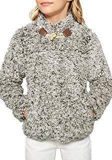2d59117e405 Utyful Girls 1 4 Zip Toggle Frosty Fleece Jacket Pocket Sherpa Pullover Coat   girl  coat  jacket  fashion  moda  beauty  elegant