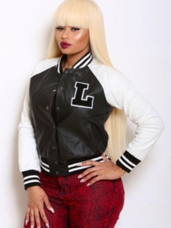 Blac Chyna 88fin Varsity Jacket Plantinum Blonde Wig with Bangs