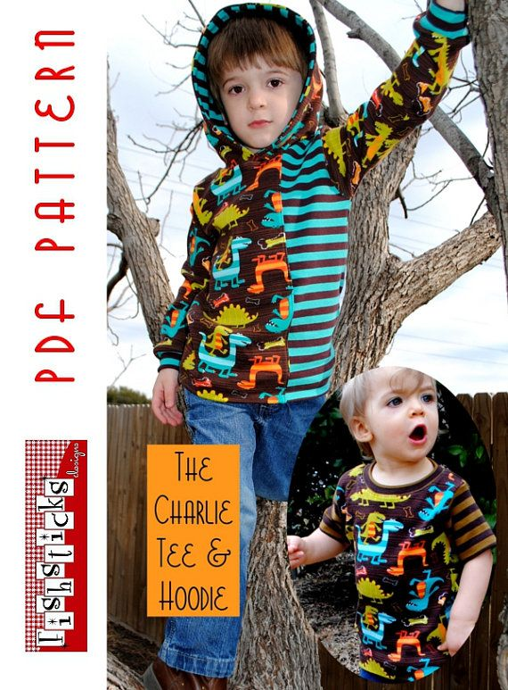 PDF Sewing Pattern:  The Charlie Tee  Hoodie Infant-Toddler (Instant Download) on Etsy, $12.05