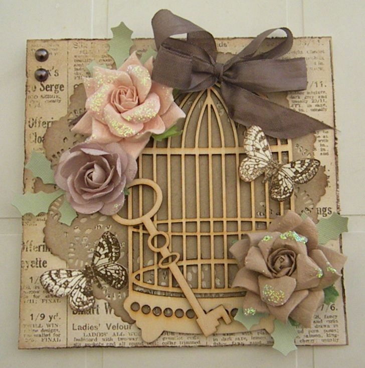Great idea to use that wood birdcage I have in my stash!