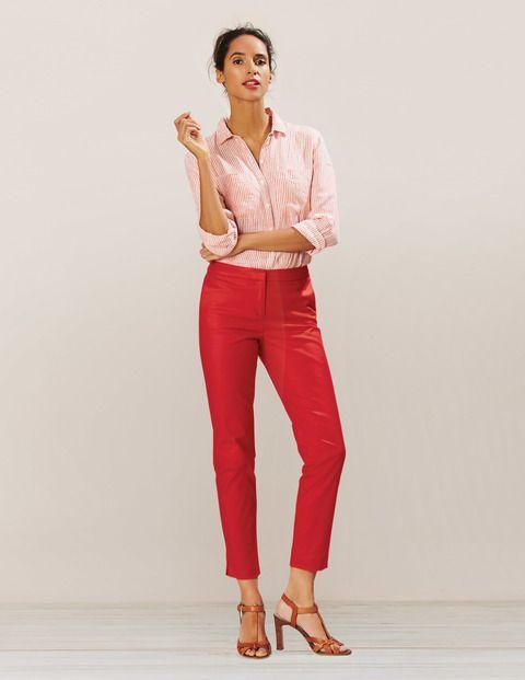 linen shirt + bright pant + neutral shoe