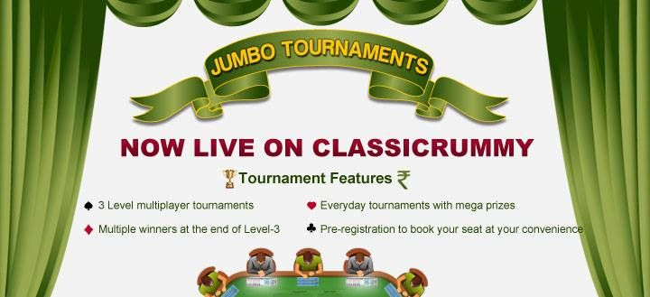 hurray!!! Mega Rummy Jumbo Tourneys are live now at Classicrummy.   Book Your seat To Play & Win Mega Prizes ! More Winners, Games and mega prizes.  Don't miss....Hurry.... https://www.classicrummy.com/rummy-games/rummy-jumbo-tournaments?link_name=CR-12