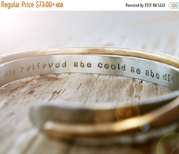 ANNIVERSARY SALE Inspirational Bracelet / Gift for Her / Graduation Jewelry / Stacking Cuffs / She Believed She Could So She Did / Inspirati by amywaltz #TrendingEtsy