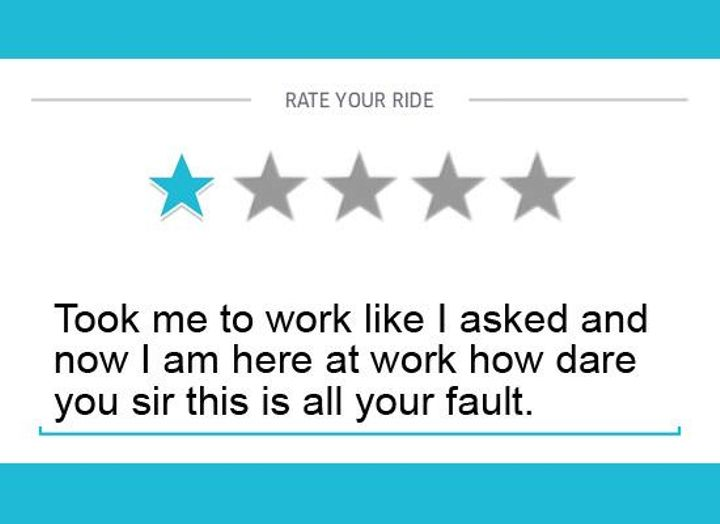 These one star Uber driver reviews are so hilarious that you won't know whether you should laugh or cry. One thing is certain, though... Poor Uber drivers!  #Funny #Uber #humor #Viralogist #viral #review
