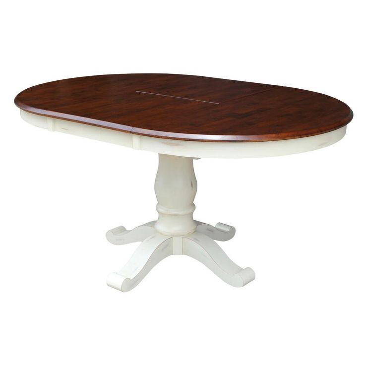 International Concepts 42 In X 60 In X 30 In H Bal Harbour Espresso And Oyster Oval Extendable Pedestal Table K63 T242xbt Dining Table Traditional Dining Tables Extension Dining Table