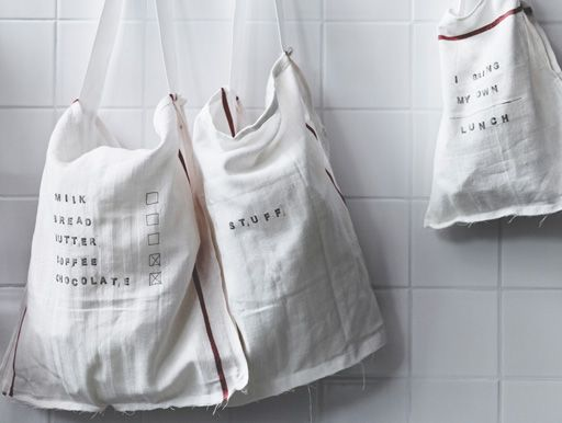 Use stamps to make labels directly onto fabric bags where you can write your shopping list, create a lunch bag or just make a 'stuff' bag.