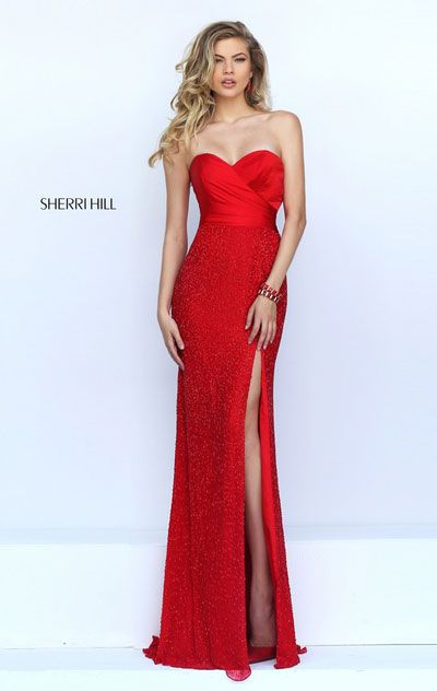 2016 Beaded Embellishments Red Strapless Long Slit Prom Dresses Sherri Hill 50046 Sweetheart Neckline Open Back