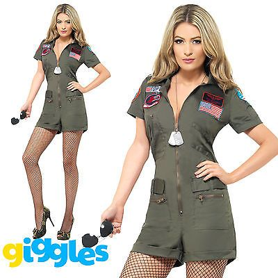 #Ladies top gun aviator costume 80s movie #pilot playsuit #fancy dress outfit, View more on the LINK: http://www.zeppy.io/product/gb/2/381541065361/