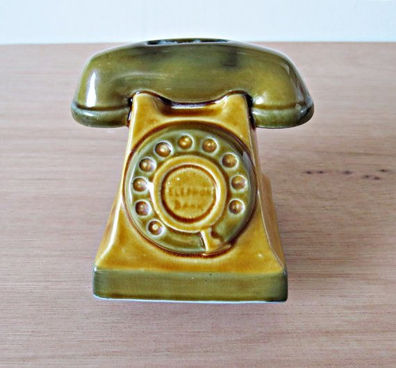 Vintage Szeiler Telephone Bank Money Box Porcelain Coin Saver Desk Telephone Table Hallway Kitchen Collectors Item