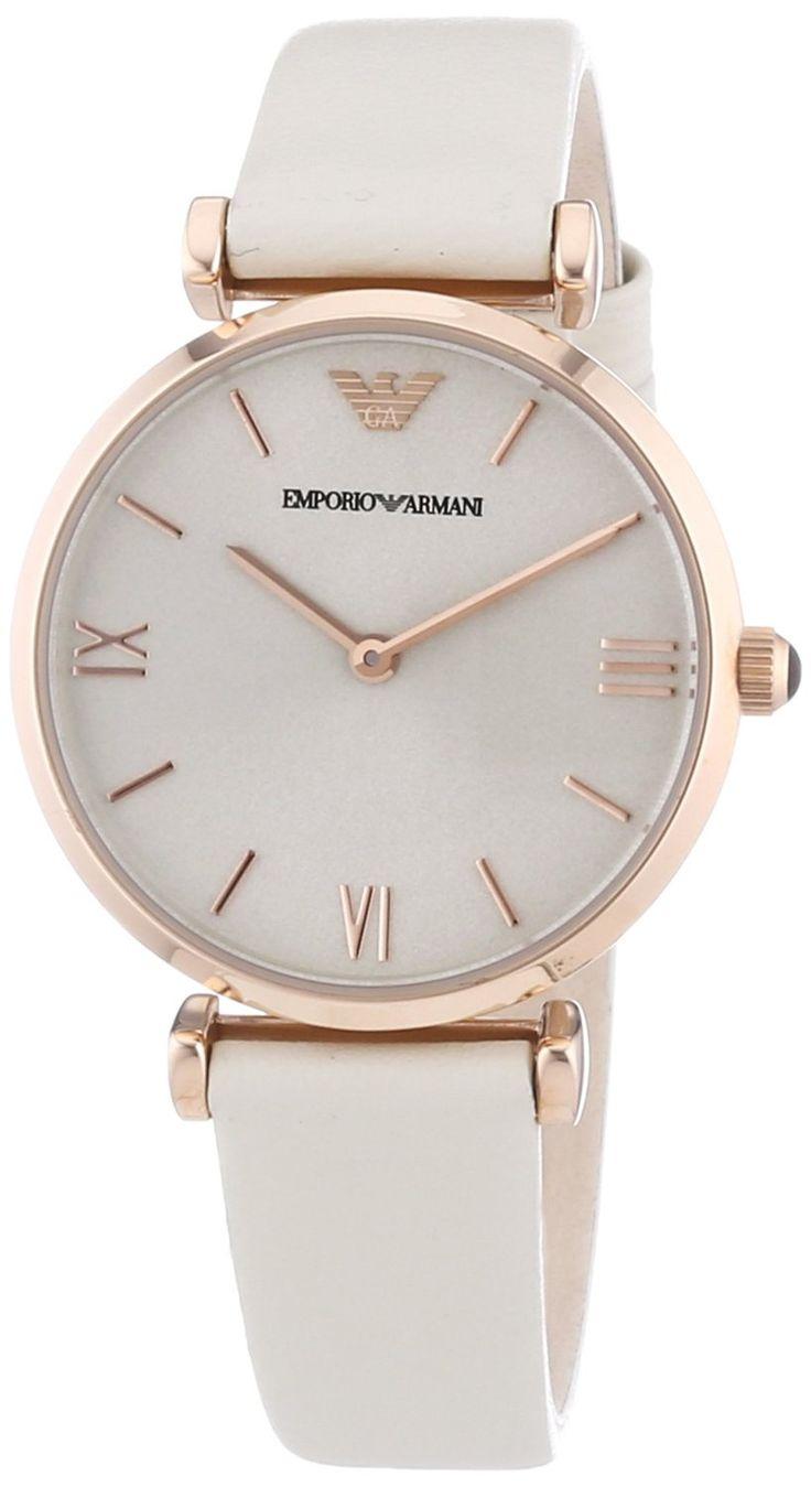 Emporio Armani - AR1769 - Montre Femme - Quartz Analogique - Cadran Blanc - Bracelet Cuir Blanc: Amazon.fr: Montres