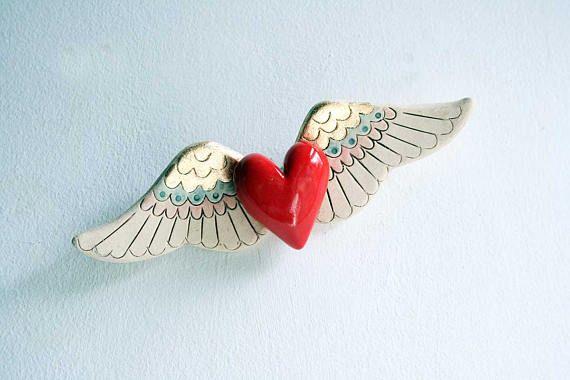 Fluttering Heart ceramic wall art