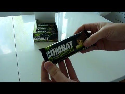 Muscle Pharm, Combat Crunch Bar, Chocolate Peanut Butter Cup unboxing video - YouTube