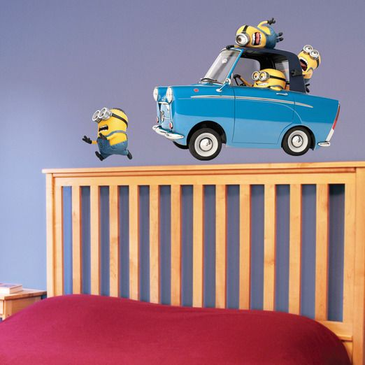 Minions driving a car...above your bed!