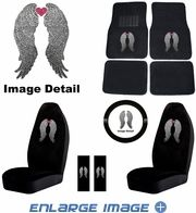 Auto Accessories Interior Combo Kit Gift Set - 9pc - Crystal Studded Rhinestone Bling - Heavenly Angel Wings w/ Pink Heart