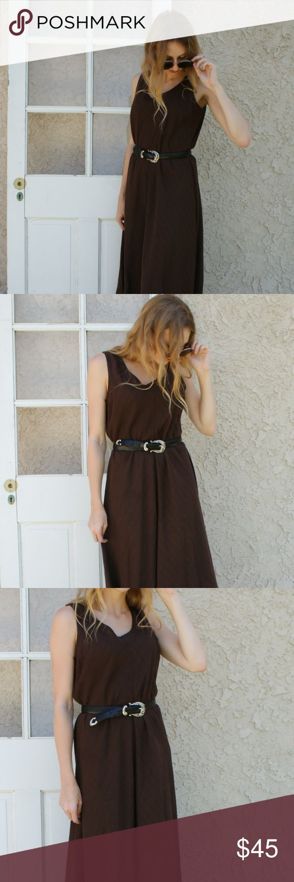 Eileen Fisher Brown Sleeveless Maxi Dress Sz M Eileen Fisher Brown Sleeveless Maxi Dress Sz M- Cute Maxi Dress that can be paired with a chunky heel and cinched with a concho belt for a grunge look. Add a light wash denim jacket for those cool summer nights. Eileen Fisher Dresses Maxi