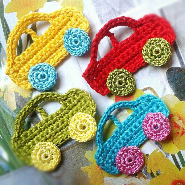 cars, crochet, Applikation