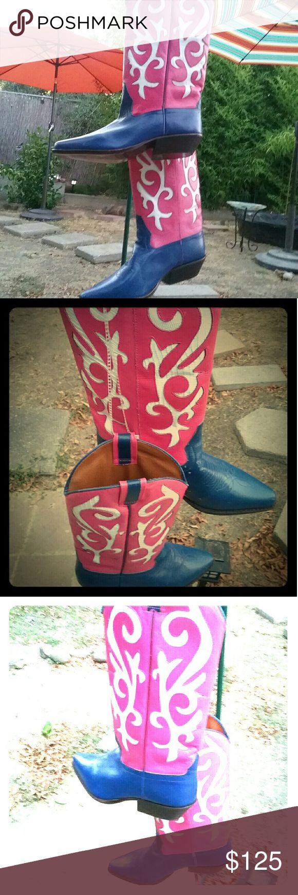 PINK White & Blue! (CowGirl Boots) Authentic Leather Pink White & Blue CowGirl Boots Made it Italy. Size 6.5 1989 Place Shoes Heeled Boots