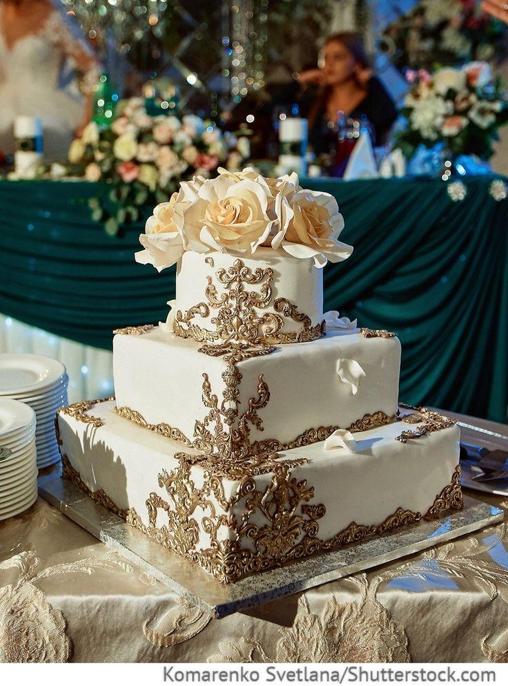 Hochzeitstorte 3-Etagen in eckiger Form für russische Hochzeiten