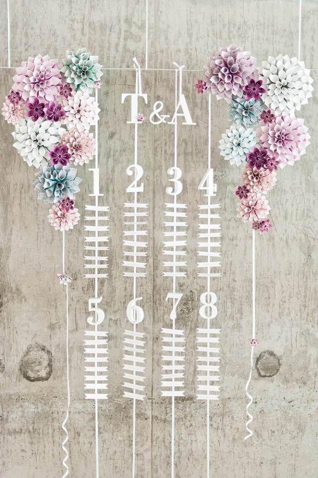 idée plan de table mariage original avec feurs en papier et guirlandes