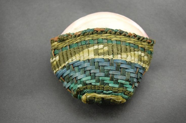 cedar bark, twining, plaiting, embroidery thread artist Donna Crispin
